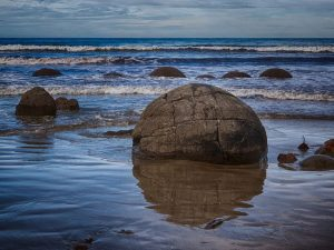 Moeraki Boulders on the east coast of the South Island.