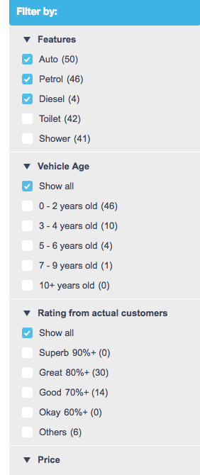 Filter by Age and Customer Ratings.