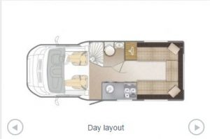 Day layout of a campervan