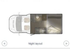 Night time layout of your campervan.