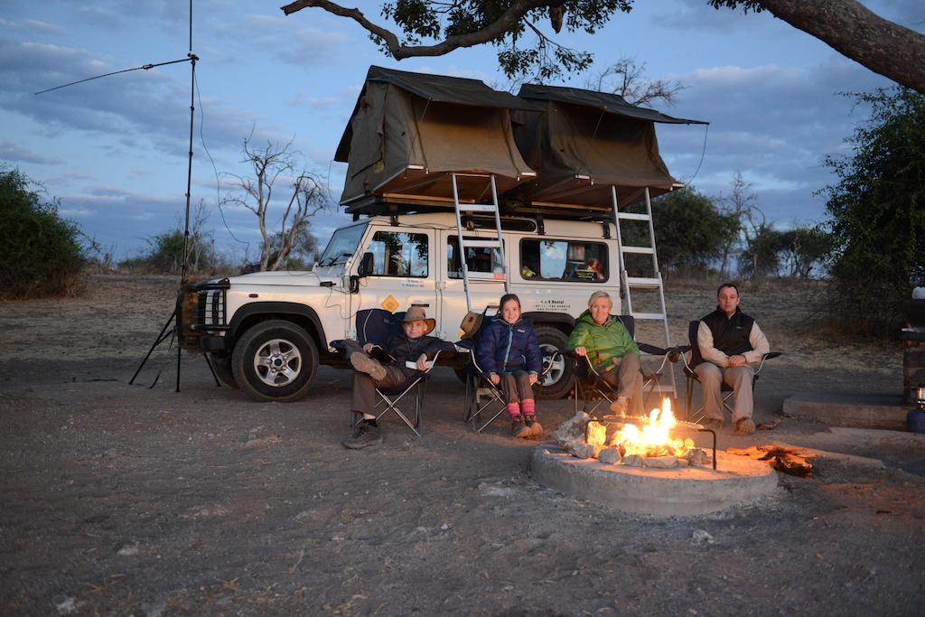 Camping in a 4WD camper in Zambia.