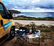 Camper hire Belgium by the beach.