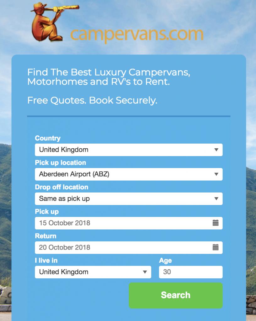 Campervans.com Booking Engine.