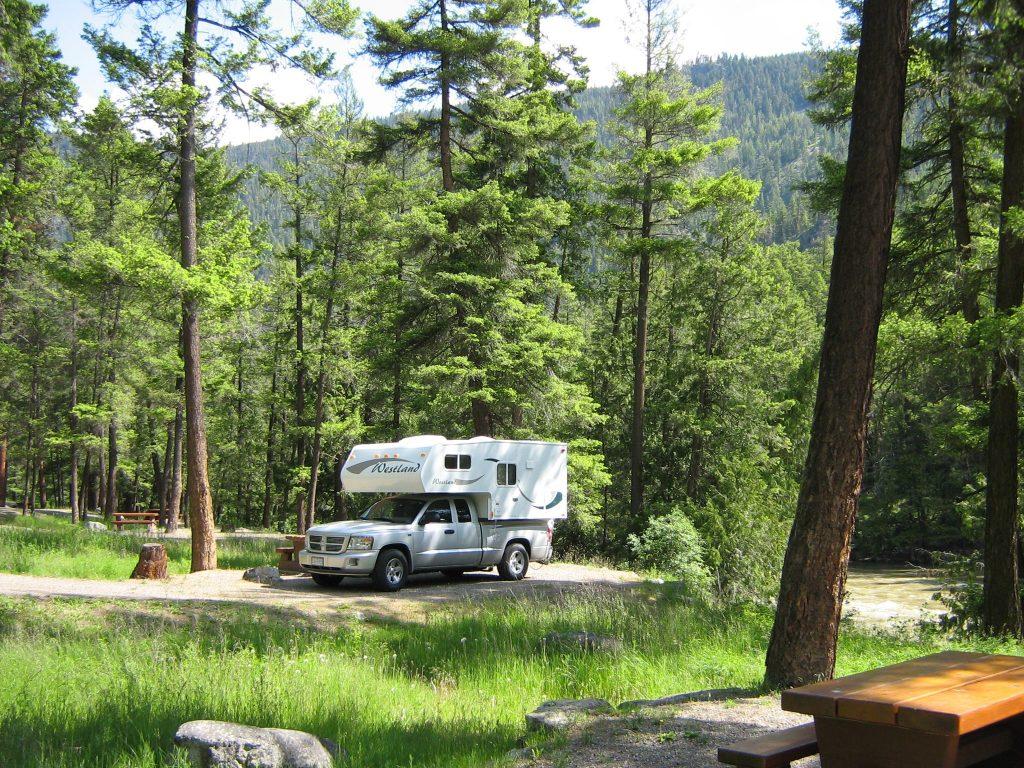 Camping in Canada in a truck camper.
